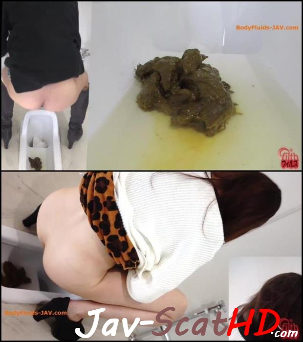BFFF-160 Jade filth Big pile feces, girls defecates in toilet. Filth plus Closeup FullHD 1080p (MPEG-4 / 300 MB)